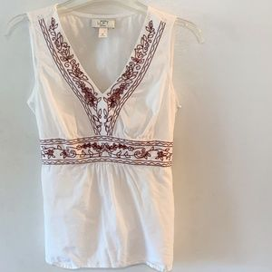 LOFT Sleeveless Top - White Embroidered 6P